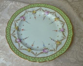 Dresden Richard Klemm RK Green Gold Floral Swag Dinner Plate