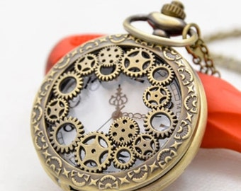 1pcs 45mmx45mm Bronze  Clock  pocket watch charms pendant