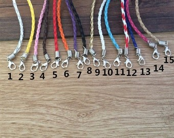100pcs 7-9inch adjustable mixed colors braided leather cord bracelet 3.0mm