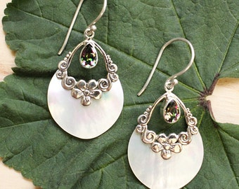 Sterling Silver .925 Teardrop White Shello  and Mystic Quartz Florettes Earrings