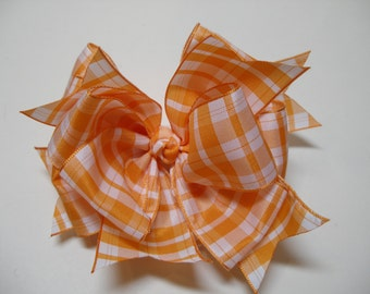 Stacked TN Orange Plaid Boutique Hair Bow Toddler Girl Casual Pageant Wear Photo Prop School