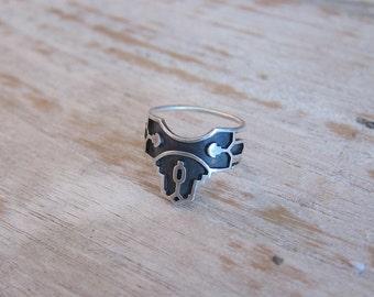Geometric Silver Ring. Oxidized Sterling Silver Ring. shipibo. modern tribal ring.