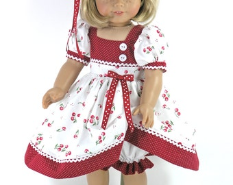 18 inch Doll Clothes fit American Girl - Dress, Bloomers, Hair Ribbon - Cherries, Dots - Shoes, Socks Option