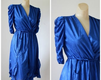 Sale Vintage Dress / 1980s Dress / The Sapphire Dress / Ruffle Dress / Day To Disco Dress XS/S