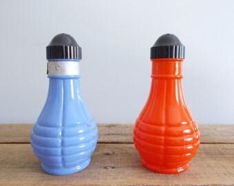 Fire King Orange and Blue/Purple Salt and Pepper Shaker Set
