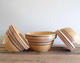 Yellow Ware Bowl Set of Three with Blue and Pink Bands