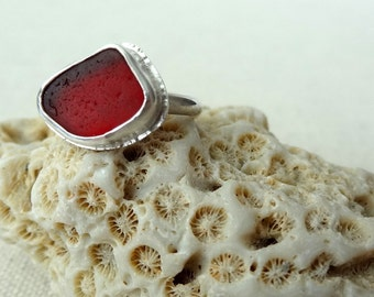 Red Sea Glass Ring, Size 6 - Rare Sea Glass - Genuine Sea Glass - Natural Sea Glass - Sterling Silver