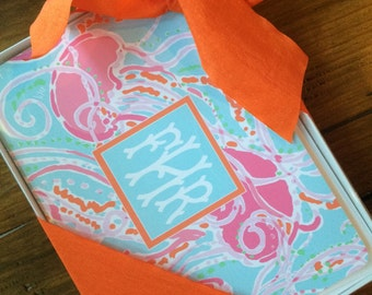 Set of 12, Pink and Aqua Jellyfish Monogrammed Stationery with Envelopes