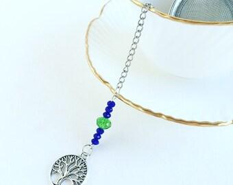 """Tea Infuser """"Tree of Life"""" Charm ~Tea Time~ Mesh Tea Ball // Green Blue Beads"""