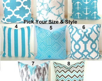 THROW PILLOWS Aqua Blue Pillows Blue Decorative Throw Pillows Blue Turquoise Blue Star Fish Pillow Covers All Sizes 16 18 20x20 Home Decor