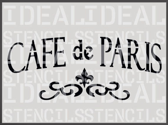 Cafe de paris stencil french shabby chic vintage furniture for Peinture shabby chic