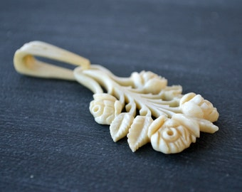 Vintage Carved Bone Flower Pendant | Carved Pendant | Roses | Vintage Wedding | Antique Jewelry