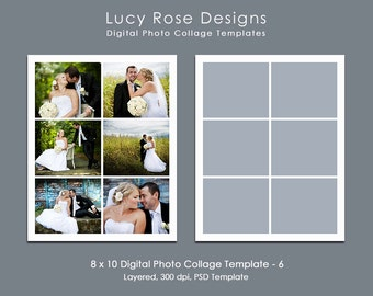 8 x 10 Digital Photo Collage Template - 6