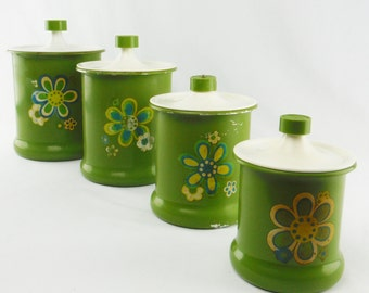 Vintage 60's/ 70's green flower power kitchen canisters
