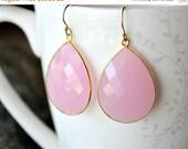 VALENTINE Sale Large Cashmere Rose Drop Earrings, Pink Quartz Dangle Earrings, Pink Linen Gemstone, Milky Pink Bezel, Gold Vermeil