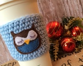 Sleepy Owl Coffee Cozy. Brown and blue drink sleeve. Gift for him / her. Bird cup coozy. Cute pastel animal beverage warmer.