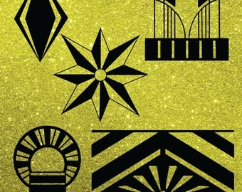 15 Art Deco Style Digital Cut files for scrap booking, card making, vinyl.  Instant Download