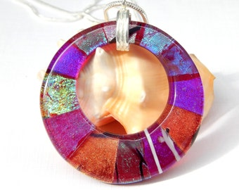 Large Multicolor Dichroic Donut Pendant - Fused Glass Jewelry - Mixed Art Glass Round Necklace
