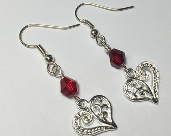 Silver Heart and Red Swarovski earrings