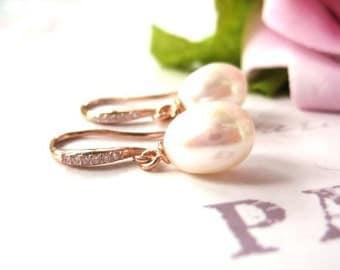 Rose Gold, Freshwater Pearl Bridal Earrings, Pearl Wedding Earrings, Pearl Drop Earrings, Wedding Jewellery