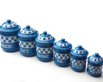 Vintage French Enamelware CANISTER SET 6 Pieces blue  Enamel kitchenware   Lustucru  pattern
