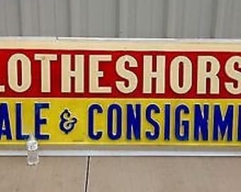 Vintage resale clothes consignment shop Plastic Advertising Store Display Sign