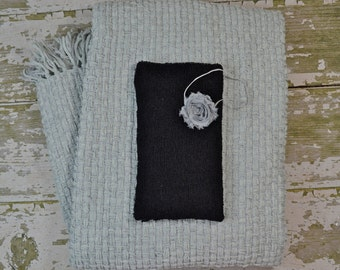 DISCOUNTED PHOTOGRAPHER'S PACKAGE: Gray Blanket, Matching Knit Wrap and Shabby Chic Headband Set for Newborn Photo Shoot, Newborn Set