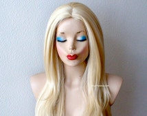Blonde wig. Long Straight Volume hairstyle Blonde color wig.
