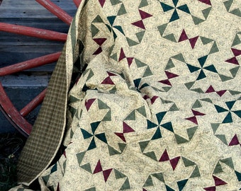 Oklahoma Twister quilt pattern - Printed pattern of a traditional patchwork quilt pattern of triangles