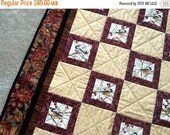 Mothers Day Sale Wall Hanging or Lap Throw of Chicadees in Gold, Deep Rose, and Fall Prints