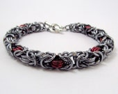 Dark Silver and Red Bracelet  – Byzantine Weave Chainmaille Bracelet – Handmade Sanguine Chainmail for Men and Women