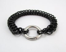 Black Cuff Bracelet – Half Persian Chainmaille Bracelet - Nickel Free Chain Bracelet for Men and Women - Handmade Chainmail