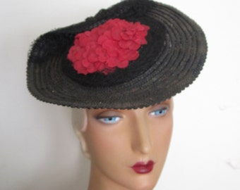 SALE - Jessie - 1930's Black Straw Platter Tilt Hat with Red Flowers and Veiling