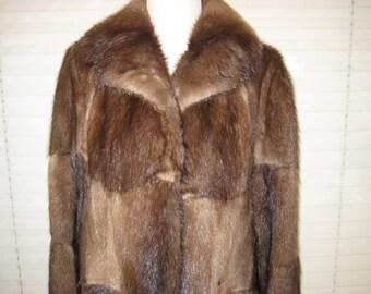 Genuine fur coat, real Mink fur jacket, 70s boho coat, patchwork style, medium