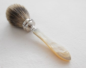 New Shaving Brush with Mother of Pearl Handle Recycled from Antique Cutlery Set Best Badger Hair Wet Shaving by LondonCutlers