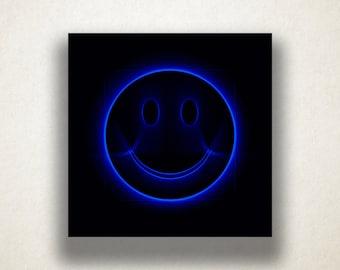 Blue Smiley Face Canvas Art Print, Fun Wall Art, Smiley Face Canvas Print, Artistic Wall Art, Canvas Art, Canvas Print, Home Art, Wall Art