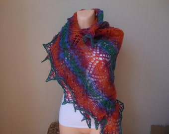 Lace shawl mohair yarn Triangular shawl , hand knitted