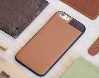 iPhone 6 case Wood, iPhone 6 Tan Leather Case, iPhone 6s Case - LTR-TN-I6