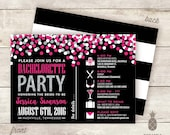 Confetti Sparkle Bachelorette Party Timeline Invitations - Colors Used: Black, White, Hot Pink, and Faux Silver Glitter