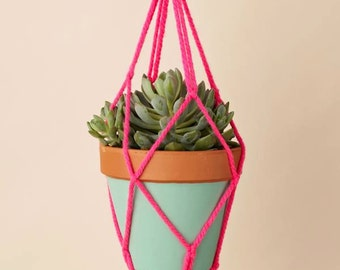 Macrame Pot Holder Plant Hanger Neon Pink