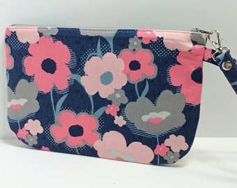 Square Wristlet / pouch - Flower garden on blue