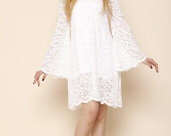 Off Shoulder Boho Wedding Lace Dress Beach Wedding Dress Hippie Bell Sleeve Wedding Dress 70s Short Boho Bell Sleeve Wedding Dress