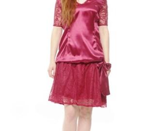 Marsala Flapper Lace Dress Great Gatsby Dress Bridesmaid Red Dress 1920s Dress Charleston dress Plus Size Lace Dress