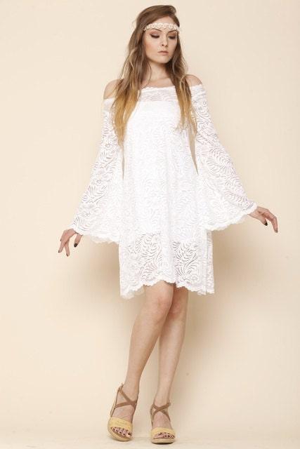 off shoulder mini boho wedding lace dress beach wedding. Black Bedroom Furniture Sets. Home Design Ideas