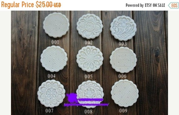 moon cake mold 100g round set with 9 stamps