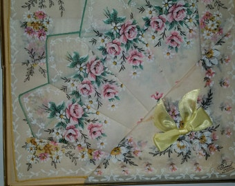 """Vintage Handkerchiefs 60's Gift Box Set of 3 100% Cotton Hankies Made by Burmel Floral Design 10""""  x  10"""" Made in USA"""