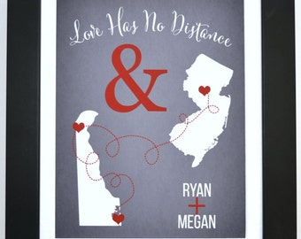 Long distance relationship gift custom two state print wall decor, personalized gift, distance relationship, art print, long distance gift