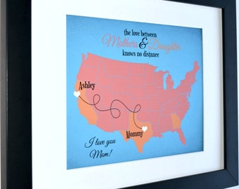 Mother daughter map, mother's gift custom print, mom gift, long distance relationship love art print, moving away missing you present
