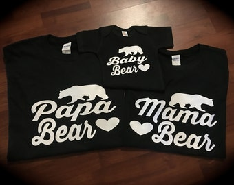 Mama Bear; Mama Bear shirt; Papa Bear; Papa Bear shirt; Baby Bear; Brother Bear; Sister Bear; family shirts; photo shoot; matching shirts