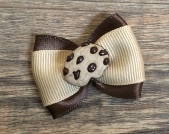 Chocolate Chip Cookie Hair Bow-Cookie Bow-Cookie Baby Bow-Cookie Dog Bow-Dessert Bow-Chocolate Chip Cookie Dog Bow-Tiny Cookie Bow